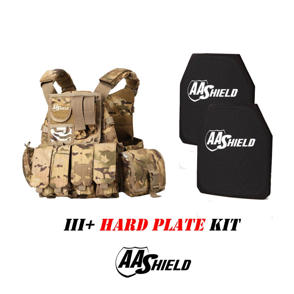AA Shield Molle 6094 Style Military Tactical Vest Level III Rifle Plate 3 Kit/MC