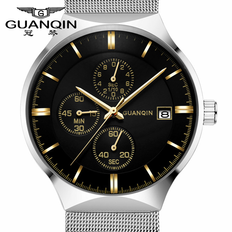 GUANQIN Luxury Brand Men Watch Relogio Masculino Quartz wristwatches Thin Men Waterproof Wristwatch Male Sport Business Watches