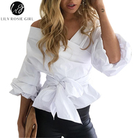 Chic Off Shoulder Ruffled Women Blouses Tops Elegant Bow Waistband Ruched Sleeves White Shirts Feminino Autumn