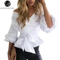 Sexy de hombro azul rayas ruffled mujeres Blusas Tops arco elegante acanalada mangas blanco Camisas blusas ocasionales del otoño