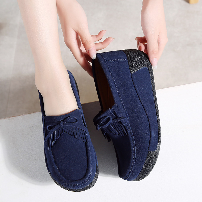 TKN 2019 Spring Women Flat Platform sneakers Shoes   Leather     Suede   slip on female fringe creepers moccasins womens shoes 1319