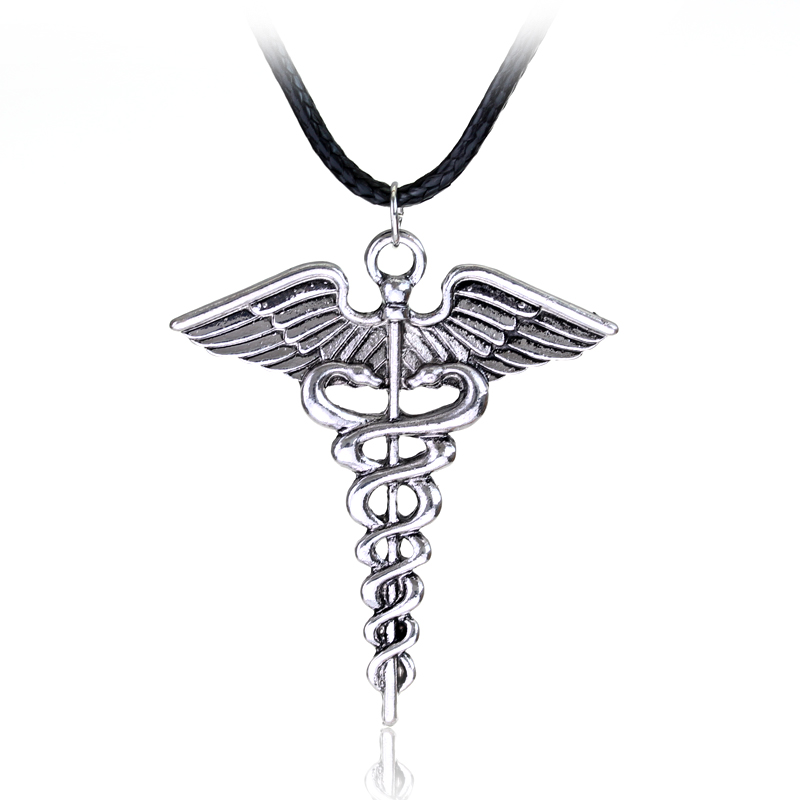 Silver Plated Medical Symbol Nurse Doctor Pendant Caduceus Necklace Snakes Wings Necklace Nurse Day Gifts mariposa en plata anillo