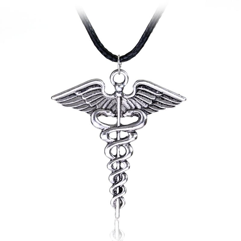 Silver Plated Medical Symbol Nurse Doctor Pendant Caduceus Necklace