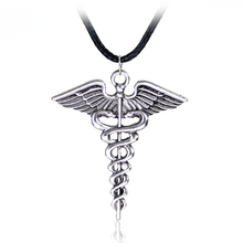 цены Silver Plated Medical Symbol Nurse Doctor Pendant Caduceus Necklace Snakes Wings Necklace Nurse Day Gifts