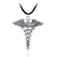 Silver Plated Medical Symbol Nurse Doctor Pendant Caduceus Necklace Snakes Wings Necklace Nurse Day Gifts(China)