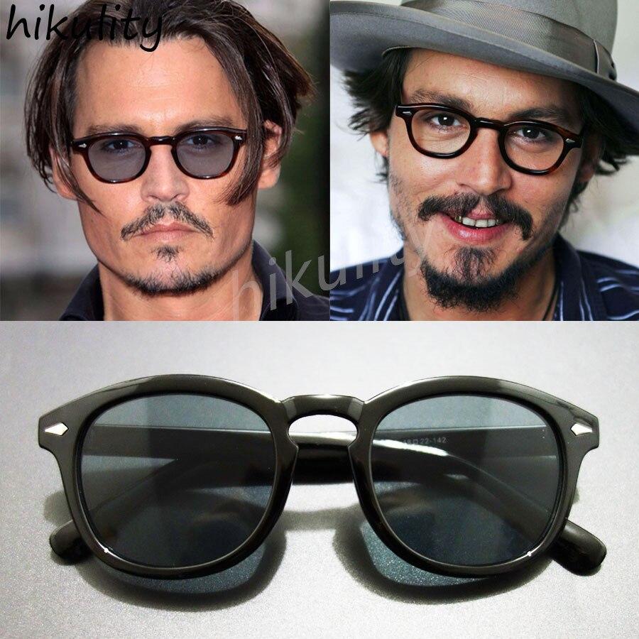 HIKULITY Black Sunglasses Men Rivet Colorfull Lens Sunglasses Women Brand Designer Johnny Depp Sun Glasses Lunette De Soleil ジョニー デップ サングラス