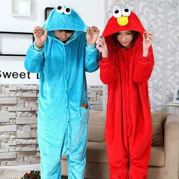 Animal Onesies Sleepwear Halloween blue cookie monster red sesame street elmos one-time animal Cosplay costume adult hoodies