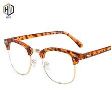 Men Round Optics Glasses Frame Fashion Women Ultralight  Leopard Spectacles Frames Rice Nail Half Prescription Eyeglasses