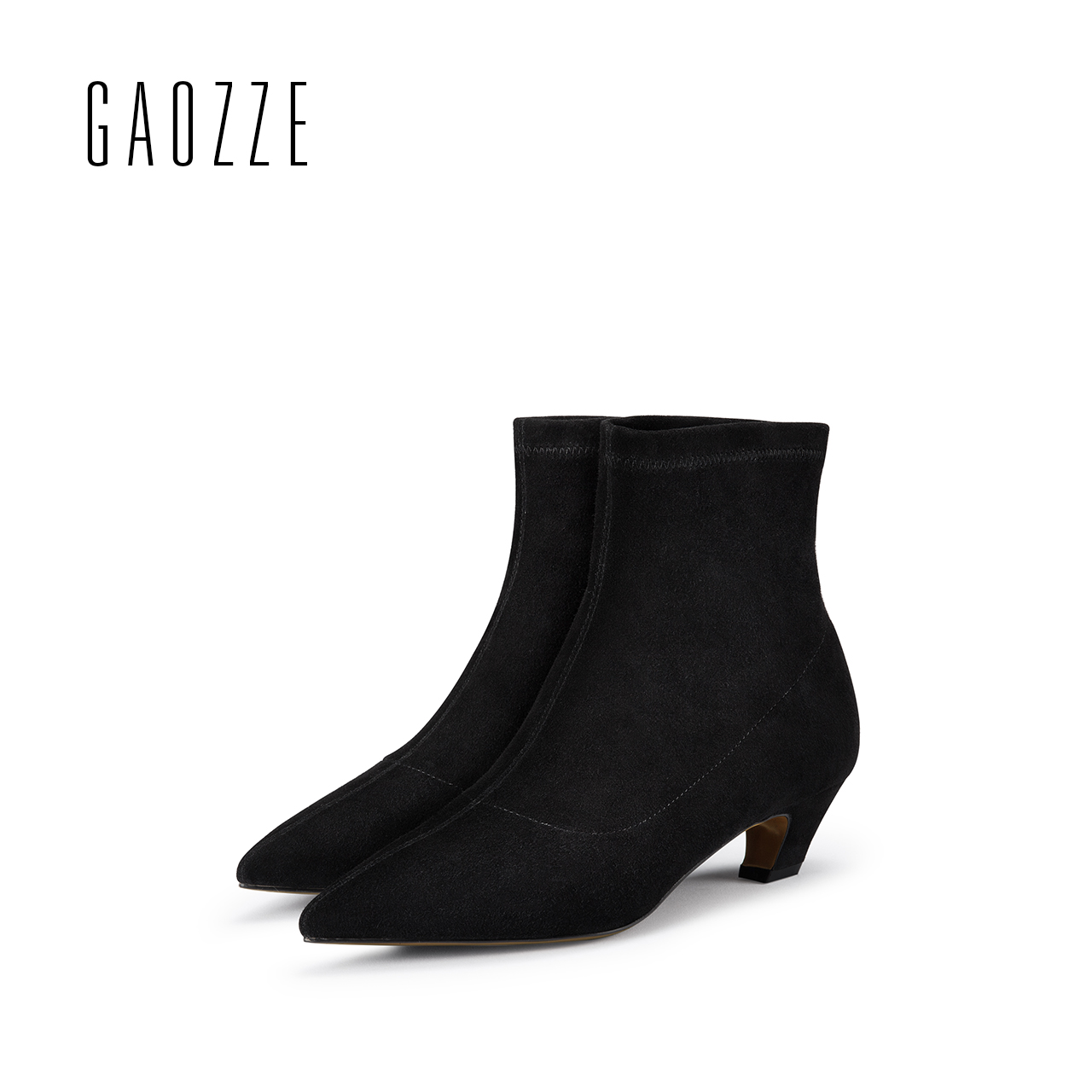 GAOZZE ankle boots for women black genuine suede leather boots women pointed toe fashion socks boots comfortable 2017 autumn new new arrival black leather and suede ankle boots women pointed toe short boots wedges boots metal buckles decorated free shipping