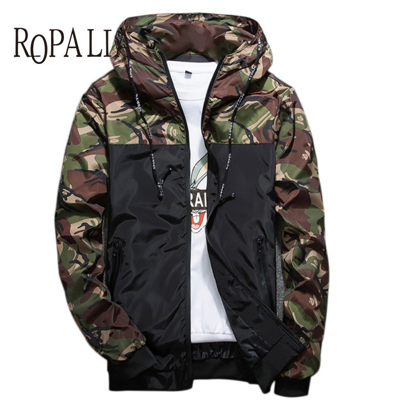 ROPALIA Korean Style Man Hooded Jacket Polyester Rib Sleeve Casual Jacket 3 Colors Men Jackets
