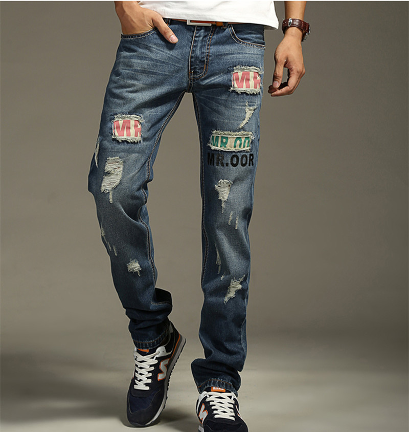 ФОТО 2016 New Mens Famous Designer Fashion Cotton Denim Hole Ripped Jeans Casual Straight Jeans Male Men's Jeans Trousers Size 38 hot