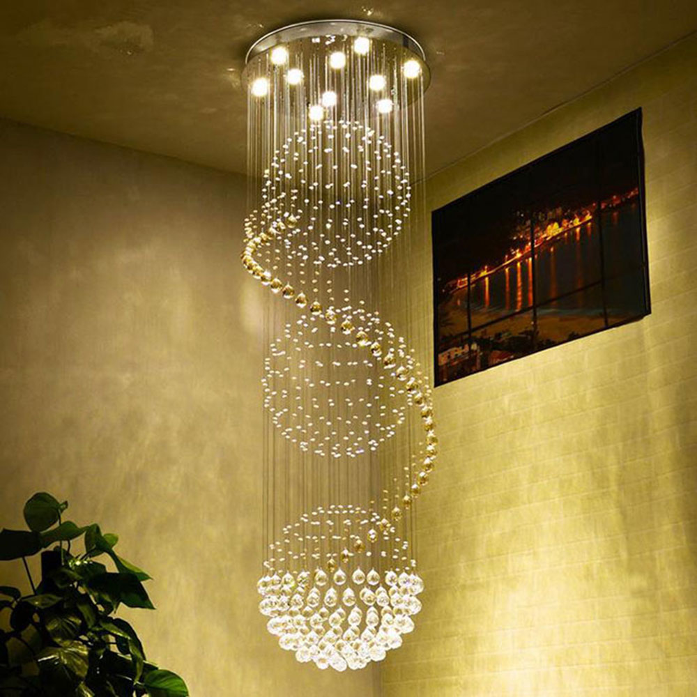 Modern Chandelier New Luxury Crystal Lighting Ceiling Lamp Fixtures lustre Indoor Dining Room Stairs Hallway stair lighting ...