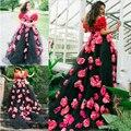 Уникальный Цветок Свадебное Платье Черный и Красный Ручной Цветок Золушка Принцесса Бальное платье Специальная Конструкция Vestido Де Novia Лонго