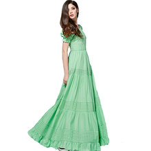Bohemian Dress High Quality 2019 New Fashion Summer Long Dress Short Sleeve Hollow out Green /Blue Cotton Long Dress(China)