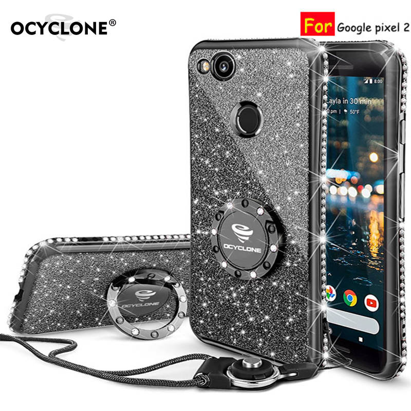 For Google Pixel 2 Case 16:9 Inch Luxury 360 Degree Metal Ring Kickstand Phone Housing Diamond Bling Glitter Purple Soft Slim