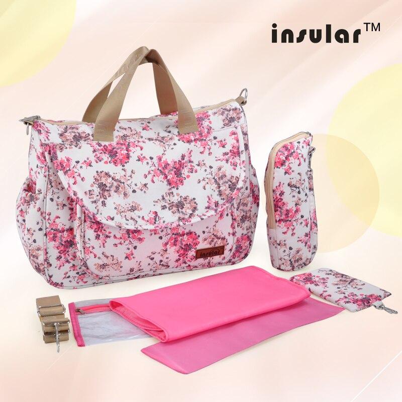 Nova multifuncional saco de fraldas saco mãe sacos de múmia maternidade sacos de fraldas de alta qualidade estilo flor mãe bolsa de bebê saco de carrinho de criança