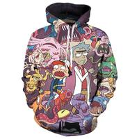 2018 New fashion Cool Hip Hop Sweatshirt Hoodies Men Women 3D Printed Funny Pokemon Rick and Morty hot Style Streetwear