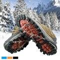 6 Dentes Garra Ice Gripper Aço Manganês Crampons gelo Tênis Para Caminhada Antiderrapante Sapatos de Escalada da Neve Ice Shoe Spikes Cadeia 7-12 tamanho