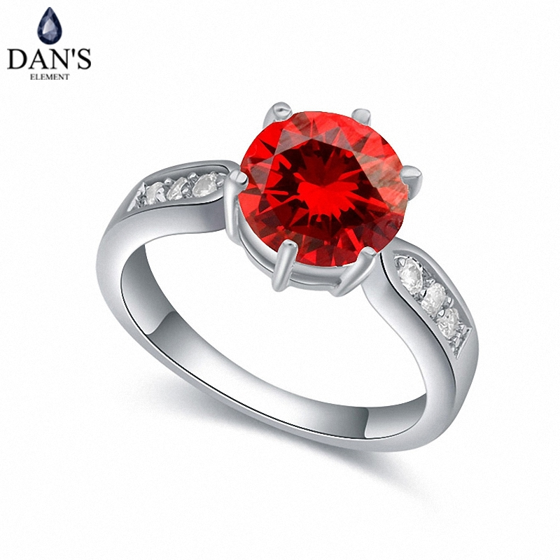 DAN'S Real Austrian Crystals Brand AAA Zirconia Micro Inlays Fashion Ring for women New Geometric 110015red
