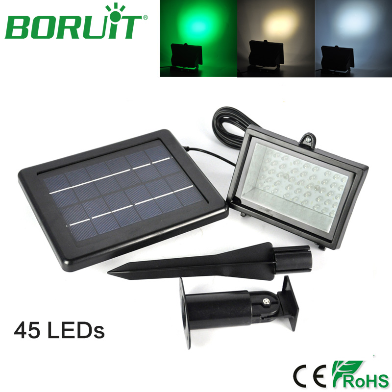 BORUiT 45 LEDs Solar Flood Lamp Light Sensor LED Night Light Emergency Lamp Waterproof Outdoor Garden Yard Solar Street Lights potenco solar led night light outdoor wall garden light pir motion sensor led lamp energy saving emergency lights waterproof
