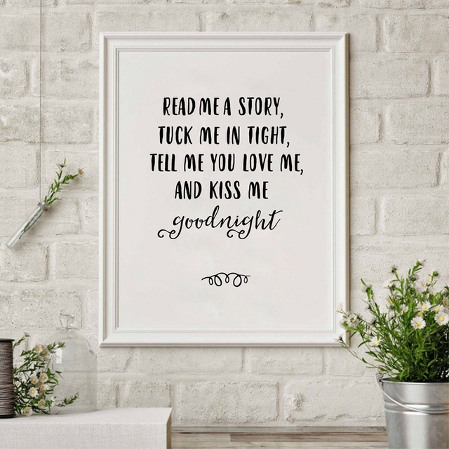 Black and White Nursery Wall Decor Read Me A Story Canvas Prints Kiss Me Goodnight Kids  sc 1 st  AliExpress.com & Black and White Nursery Wall Decor Read Me A Story Canvas Prints ...