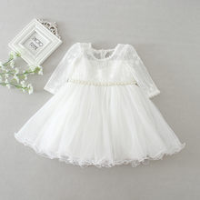 baby girl dress white lace flower 1 year birthday dress pearl belt long sleeve ball gown infant clothes for 3-24 month(China)