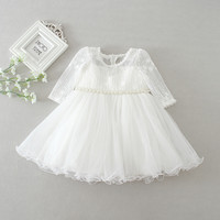 baby girl dress white lace flower 1 year birthday dress pearl belt long sleeve ball gown infant clothes for 3 24 month