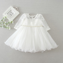 baby girl dress white lace flower 1 year birthday dress pearl belt long sleeve ball gown infant clothes for 3-24 month