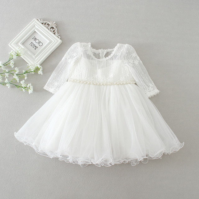 8ce4ecf0e4b7 baby girl dress white lace flower 1 year birthday dress pearl belt long  sleeve ball gown