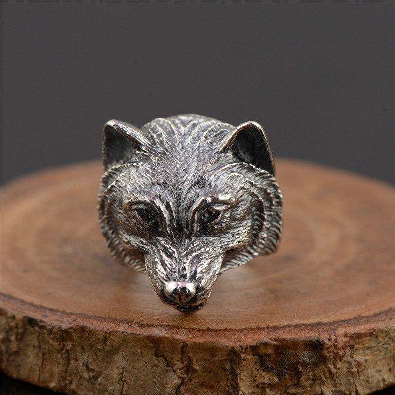 BESTLYBUY 925 argent loup chien anneau mode Punk Animal tête réel S925 Sterling Thai argent anneaux pour hommes bijoux taille réglable
