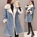 Jaqueta de inverno Mulheres Trespassado Casaco de Lã de Cordeiro Mulheres Manteau Femme Algodão-Acolchoado Jaqueta Feminina Azul Cinza Quente Parka C2811