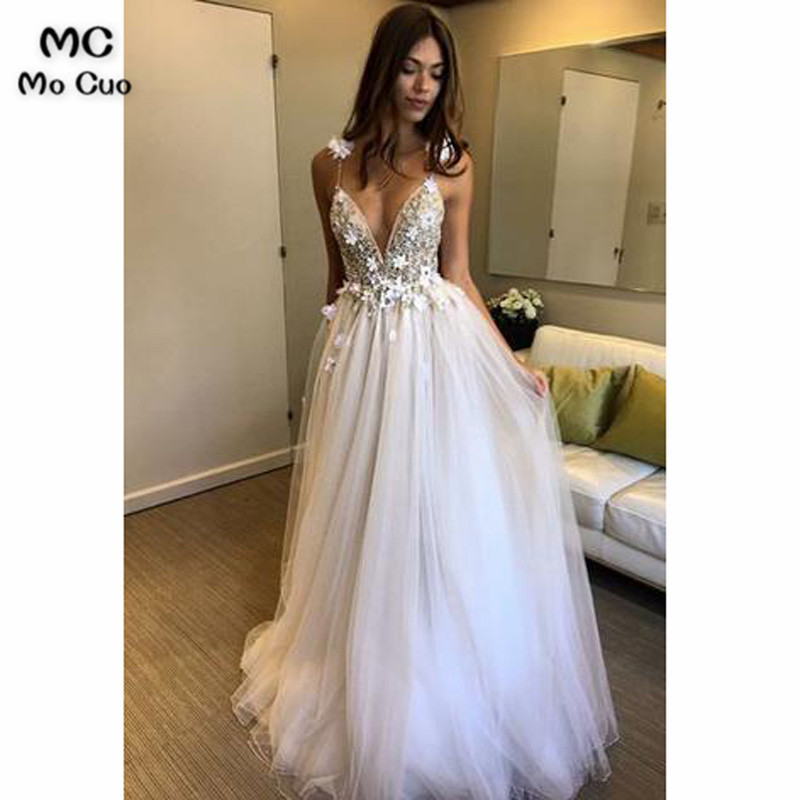 Amazing 2019 A-Line   Prom     dress   with Bead Deep V-Neck Puffy Tulle Spaghetti Straps vestido de festa Long   Prom     Dresses   Custom Made