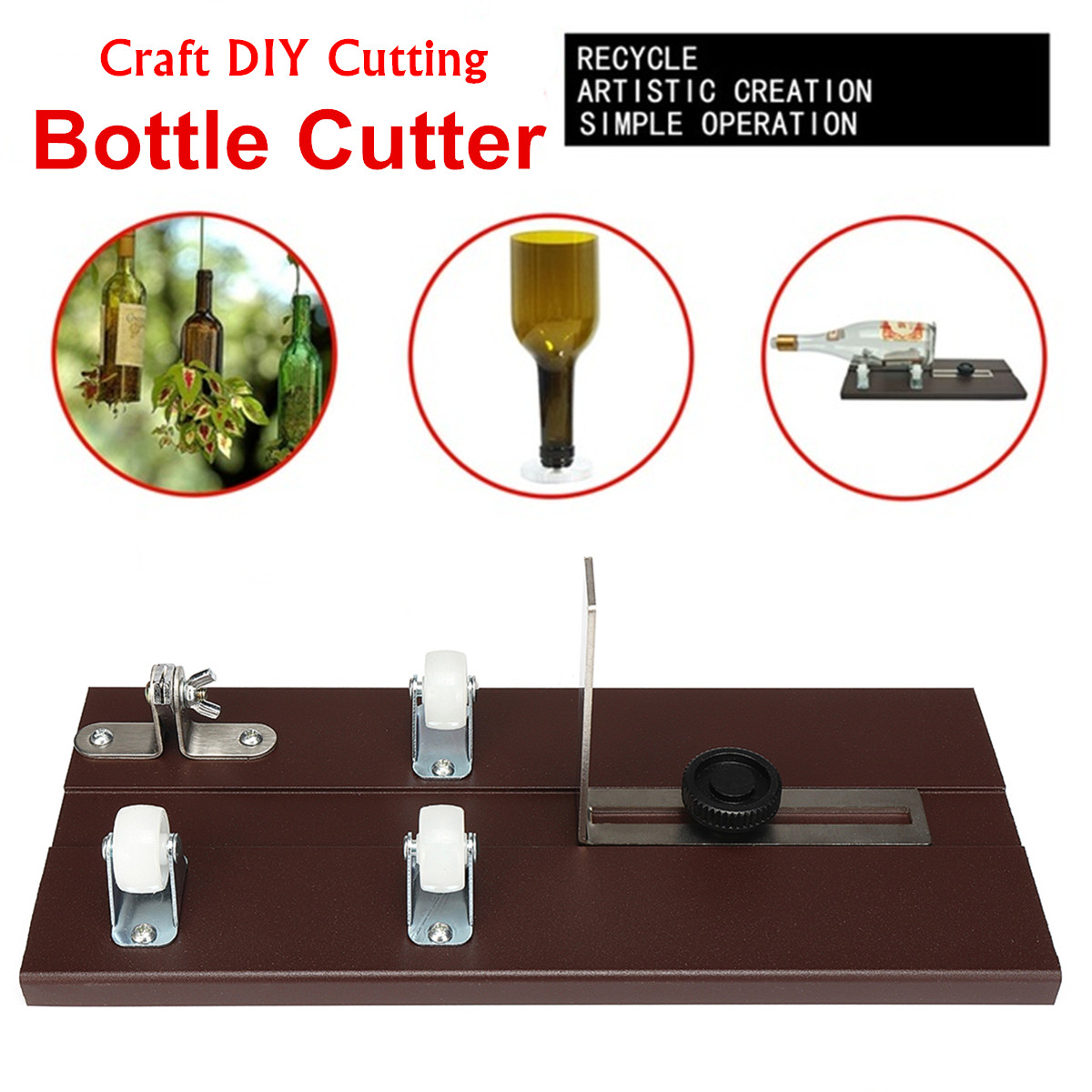 Cutting Thickness 3-10mm Glass Bottle Cutter Aluminum Alloy Better Cutting Control Create Glass Sculptures Sun Catchers Sturdier elegant cocktail glass shaped aluminum alloy diy biscuit cookie cutter mould silver