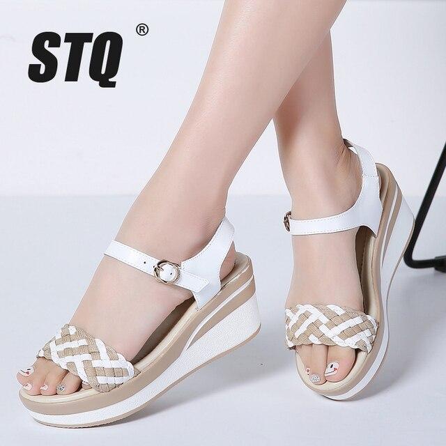 b8aa511c1ab STQ Verano de 2019 mujeres Sandalias planas zapatos de mujer zapatos de  plataforma de cuñas Sandalias