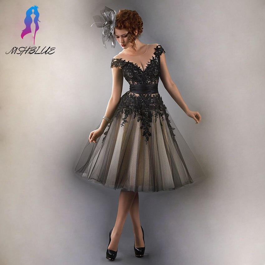 Robes de Cocktail classiques en dentelle noire longueur genoux robe de soirée manches en Tulle perles dos fermeture à glissière formelle femmes robe