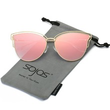 SOJOS New fashion Double Wire Cat Eye Sunglasses Women 2017 Brand Designer Mirro