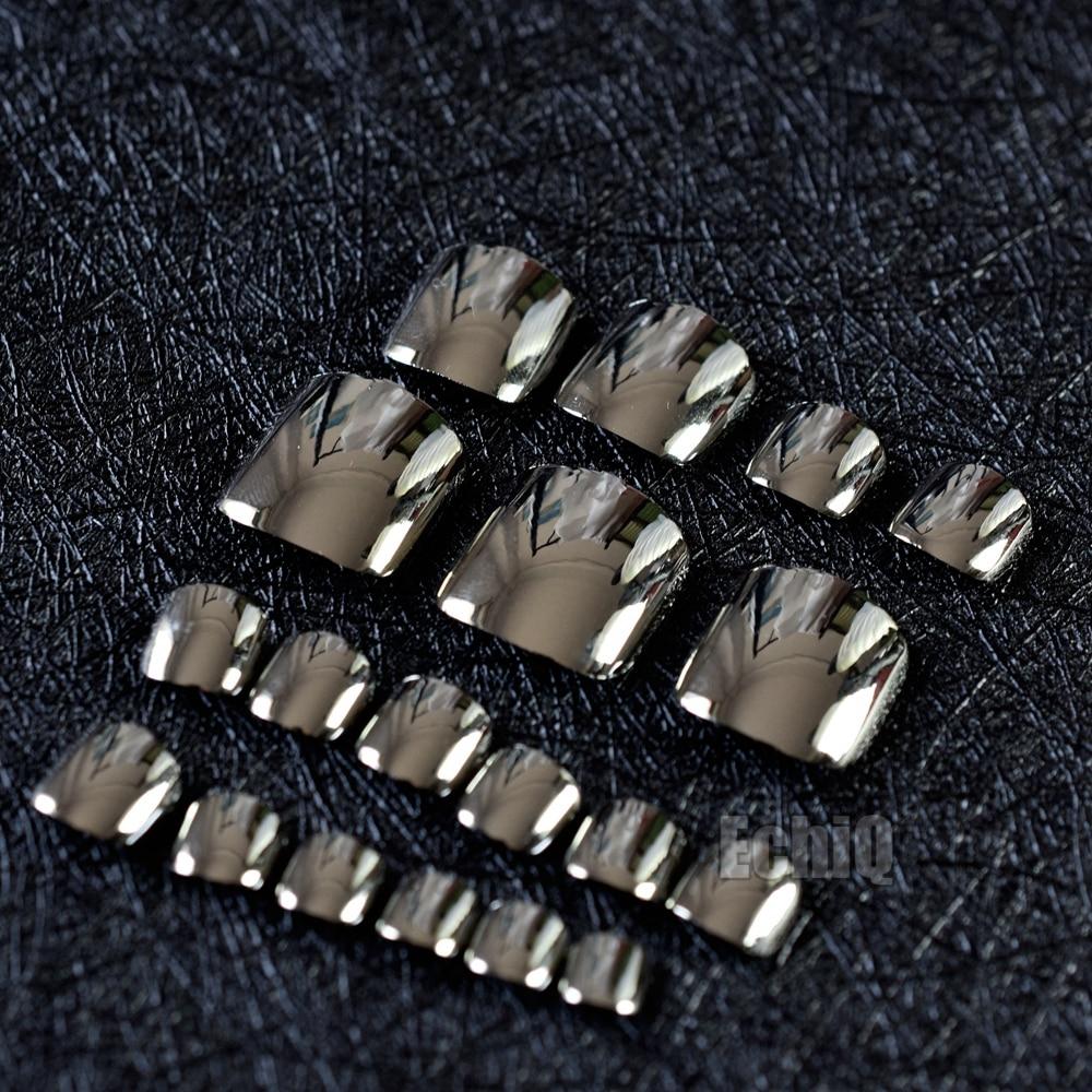 Metallic Dark Silver Color False Toe Nails 24pcs Acrylic Toes Art ...