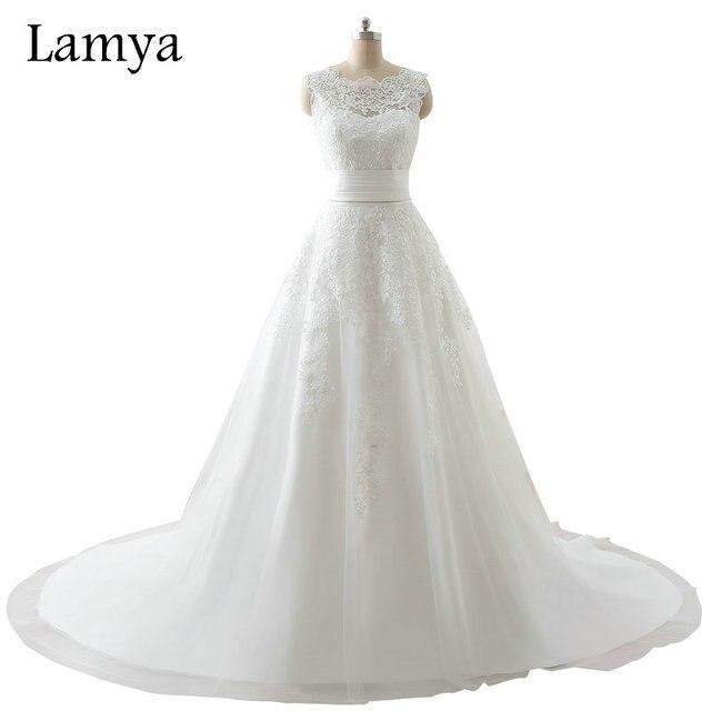 LAMYA Plus Größe Reine Weiße Spitze Elegante Hochzeit Kleid 2018 ...