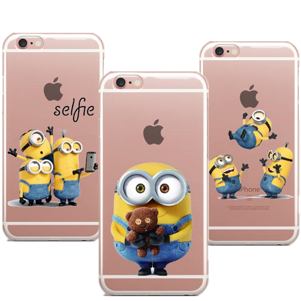 Funny Cute Despicable Me Yellow Minion Cover Sofe Case For iphone 6 6s 5 5s SE 7 plus Silicone Minions Bob with Teddy Bear Coque