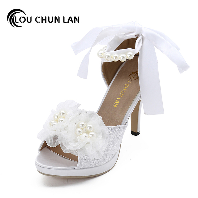 LOUCHUNLAN Women Pumps Shoes Lace Peep Toe Wedding Shoes Ankle strap Bride  high-heeled shoes Elegant shoes 277 Drop Shipping aa419c1143b2