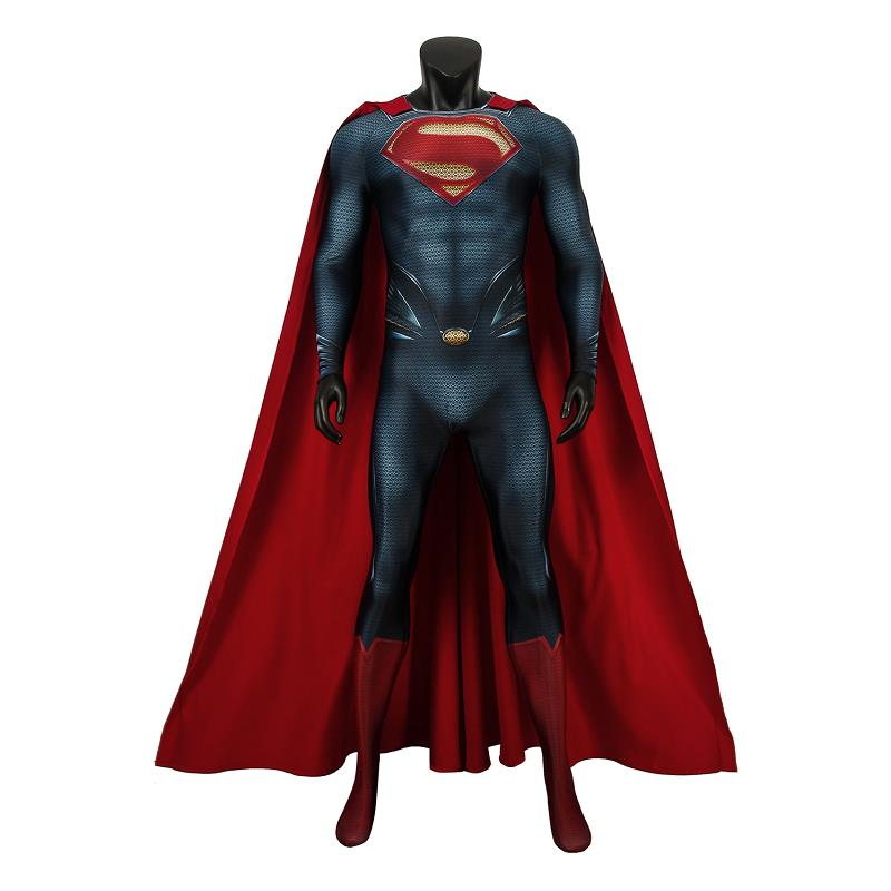 Superman Man Of Steel Costume Superman Clark Kent Cosplay Jumpsuit Cloak Halloween Superhero Carnival Adult Men Zentai Outfit