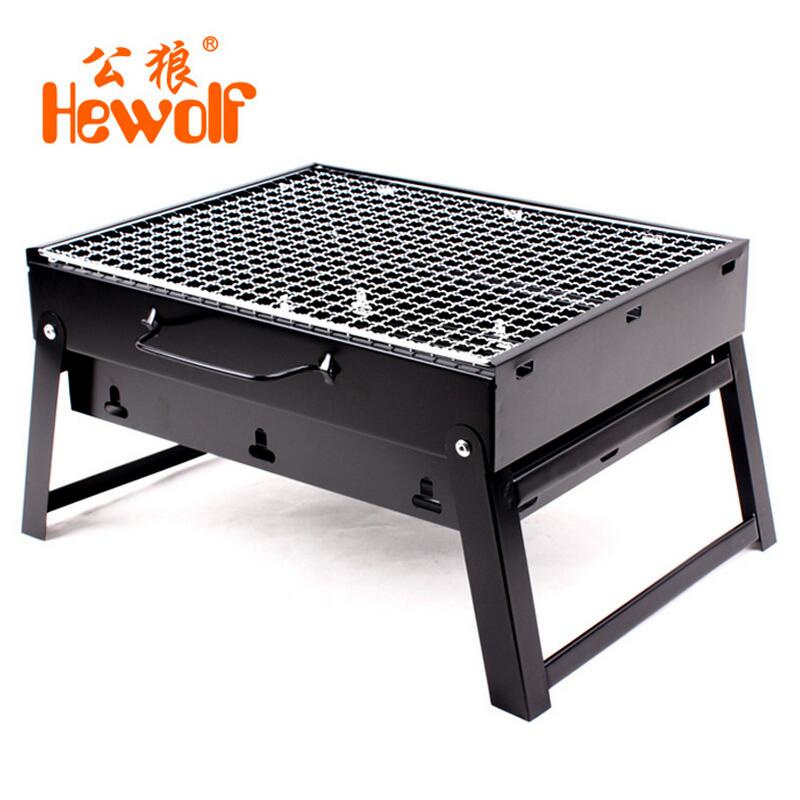 цена на Hewolf Portable Outdoor Stove BBQ Grill Box Camping Hiking Stove BBQ Charcoal Burn Oven Grill Box 35*27*20cm Outdoor Stove