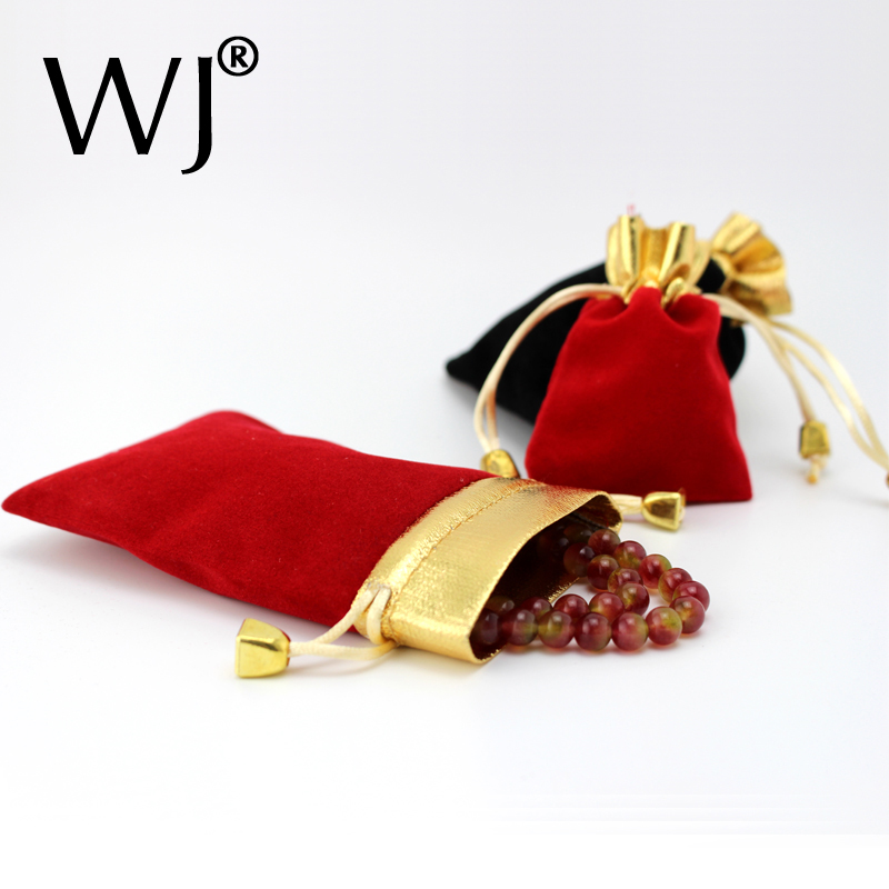Wholeslae 50pcs Red Black Jewelry Pouches Velvet Gift Bags Wedding Favors Ring Bracelet Pendant Necklace Storage Drawstring Case