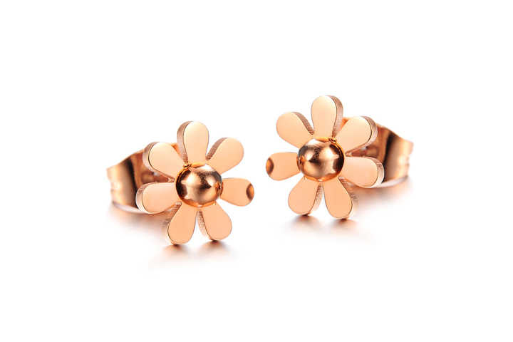 Martick 316L Stainless Steel Earrings For Women Rose Gold Five Leaves and Flowers Cute Stud Earrings Best Jewelry Gift E156