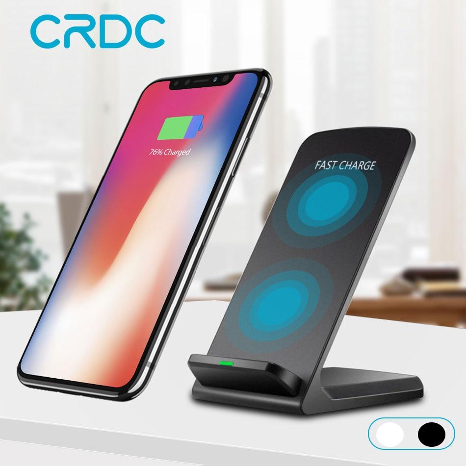 CRDC Dual Spule 10 watt Qi Drahtlose Ladegerät Für iPhone X 8 10 Plus Telefon Schnelle Ladegerät Pad Dock Station für Samsung S8 S9 S9 + Hinweis 8 7