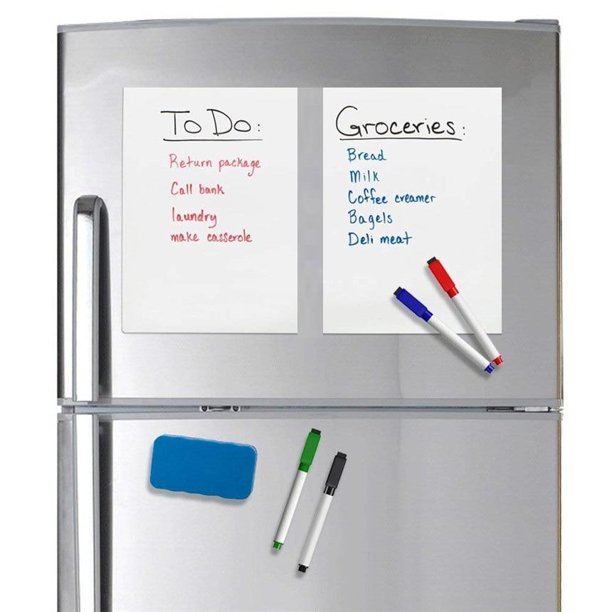 1 Pc A5 Größe Magnetische Whiteboard Kühlschrank Magneten Trocken Wischen Weiß Board Marker Radiergummi Schreiben Rekord Nachricht Bord Erinnern Memo Pad AusgewäHltes Material