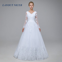 2018 New Romantic V-neck White Wedding Dress with Long Sleeves Summer Lace Appliques Celebrity A-Line vestido De Noiva