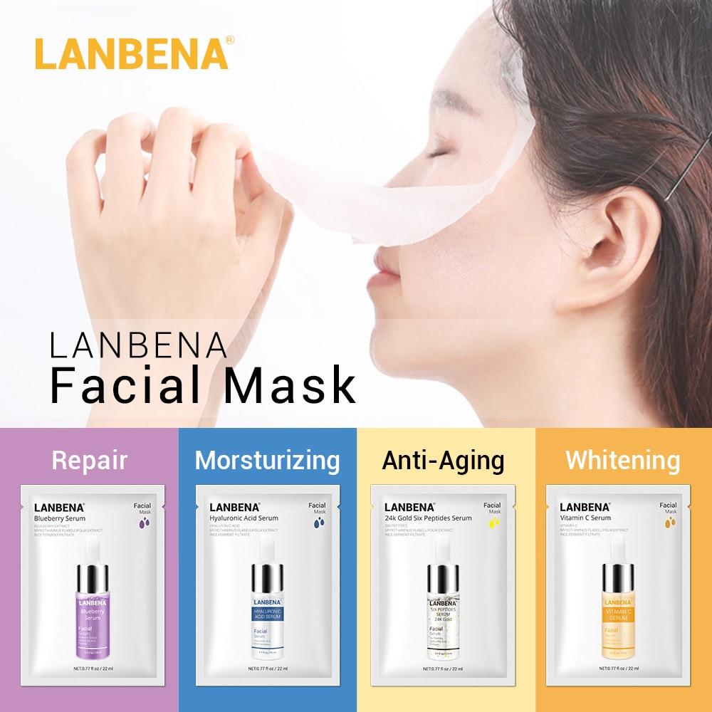 Face Masks Hyaluronic Acid Vitamin C Serum Blueberry Sheet Mask Moisturize Whitening Anti-Aging Water-Locking Skin Care TSLM1
