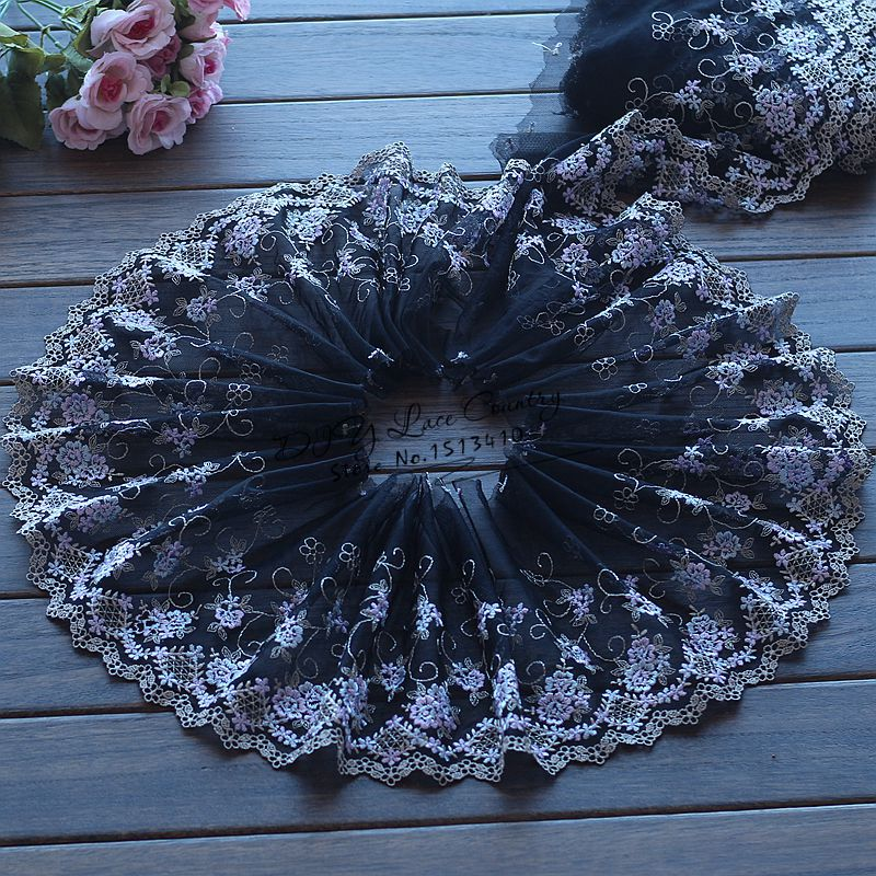 2yds lot 19cm wide Embroidered Floral Tulle Lace Trim Black blue purple Beautiful Flowers