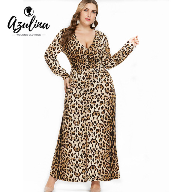 AZULINA Plus Size Sexy Leopard Dress Women V Neck Long Sleeves Ankle-Length  Dress Vestido 30550c81e512